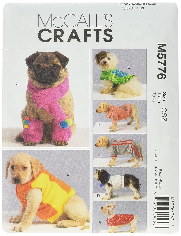McCall's, Cartamodello per mantella cagnolino, S-M-L-XL (16-40 cm) McCall' s M5776OSZ