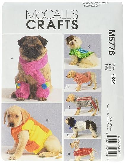 McCalls 5776 - Patrón de costura para confeccionar ropa para perros (7 modelos diferentes,
