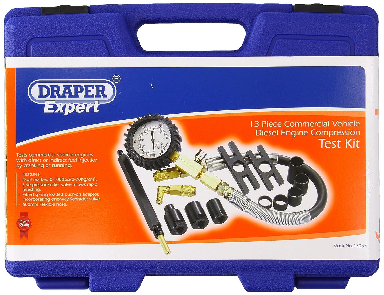 Draper 43053 13 piezas Kit de prueba de compresi/ón para veh/ículo comercial con motor di/ésel