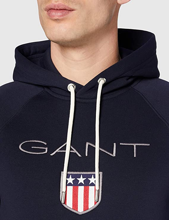 Mens Gant Arch Shield Over The Head Hoodie OTH Long Sleeve New
