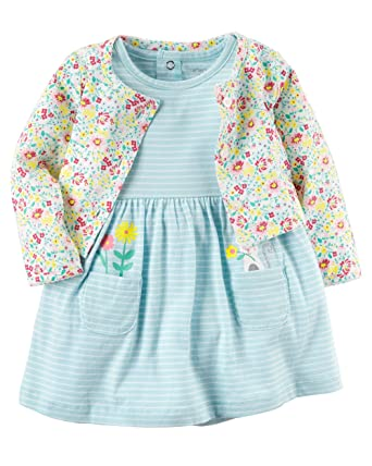 945a173c82 Amazon.com  Carter s Baby Girl 2-Piece Bodysuit Dress   Cardigan Set   Clothing
