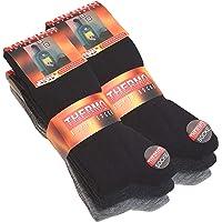 6 pares de calcetines térmicos de tejido de rizo completo, color negro, antracita y gris