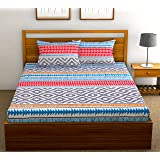 Fab Theory Herringbone 104 TC 100% Cotton Double Bedsheet with 2 Pillow Covers,Blue