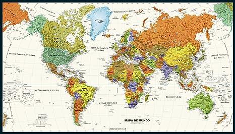Amazon.com : Contemporary World Wall Map in Spanish - 50\