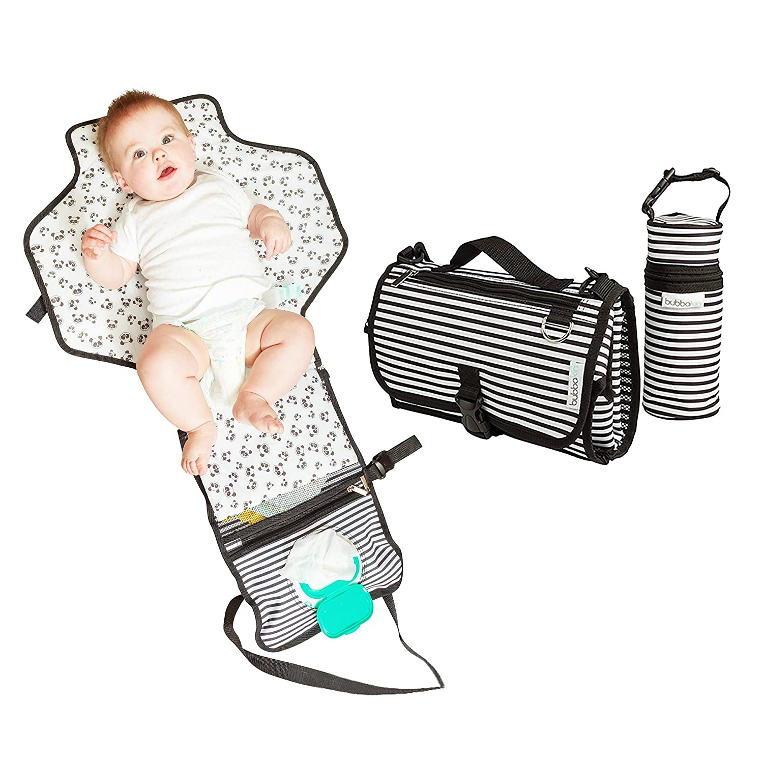 Portable Changing Mat with Insulated Bottle Bag | Waterproof Extra Large Cushioned Pillowed Baby Changing Bag | Holds Baby Wipes | Perfect for Newborns, Babies and Toddlers Bubbakin