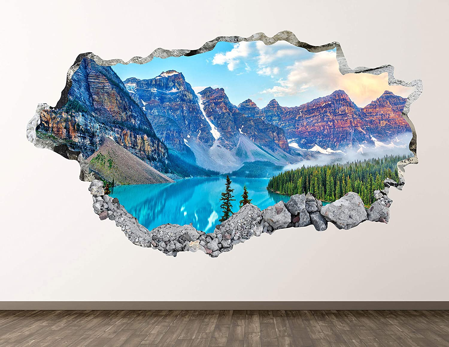 """Mountain Landscape Wall Decal Art Decor 3D Smashed Canadian Rockies Sticker Poster Kids Room Mural Custom Gift BL534 (30""""W x 18""""H)"""