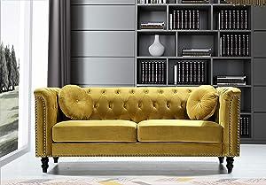 Container Furniture Direct Kittleson Mid Century Velvet Upholstered Nailhead Chesterfield Sofa, 75.98