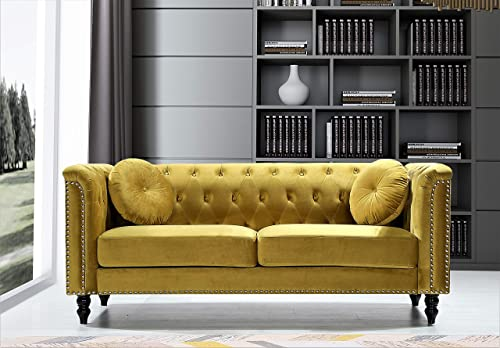 Container Furniture Direct Kittleson Mid Century Velvet Upholstered Nailhead Chesterfield Sofa