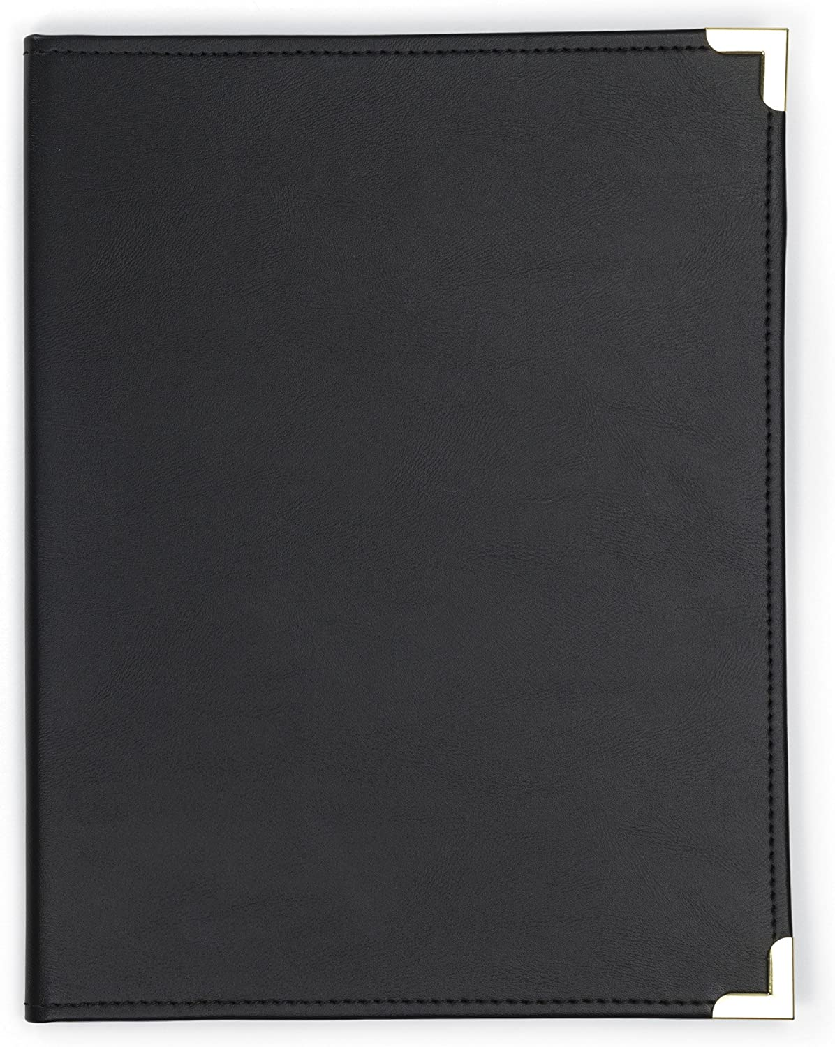 Samsill Classic Collection Business PadfolioExecutive Portfolio, Faux Leather & Brass Corners, Resume Document Organizer, 8.5 x 11 Writing Pad, Black