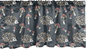 Ambesonne Hedgehog Window Valance, Forest Animal in Floral Pattern with Mushrooms Childish Cartoon, Curtain Valance for Kitchen Bedroom Decor with Rod Pocket, 54