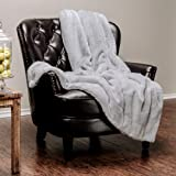 """Chanasya Super Soft Faux Fur Warm Elegant Cozy With Fluffy Sherpa Solid Color Sofa Couch Bed Light Gray Silver Microfiber Throw Blanket (50"""" x 65"""")"""