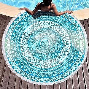 Bonsai Tree Mandala Round Beach Towel, Indian Hippie Boho Extra Large Sand Proof Beach Blanket, Circle Meditation Yoga Mat with Tassels 59