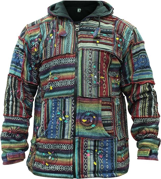 36fd72f1 SHOPOHOLIC FASHION Men's Cotton Outstiched Hippie Hoodie Jacket (Multi ...