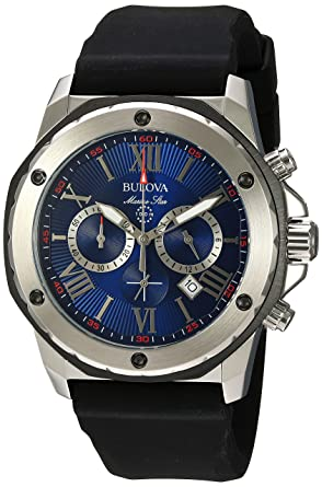 1740b060e52 Amazon.com  Bulova Men s (98B258) Marine Star Chronograph Stainless Steel  and Silicone Casual Watch
