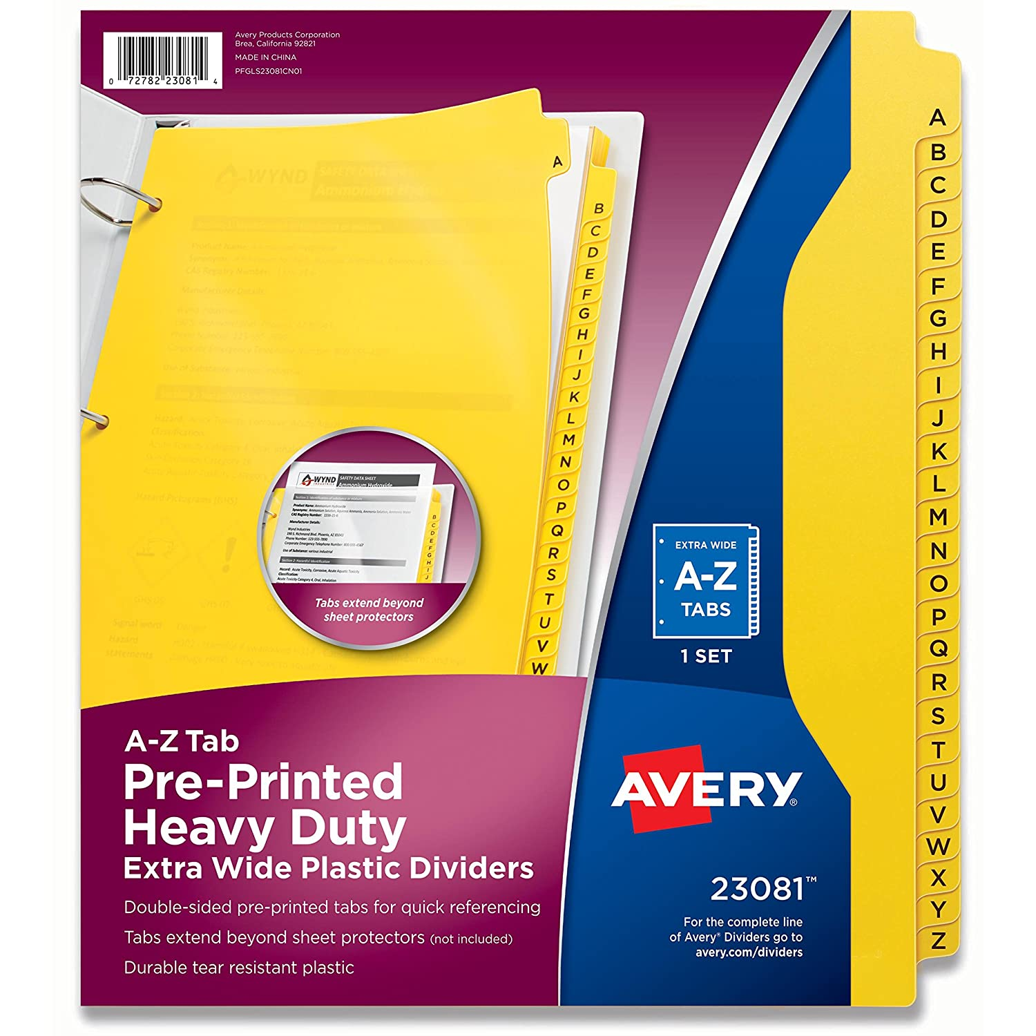 Avery Heavy-Duty Plastic Industrial Dividers, 26 A-Z Tabs, Yellow (23081) Avery Products Corporation