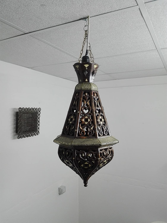 Lámpara étnico marroquí a Techo de Madera Farol Lámpara Chic ...