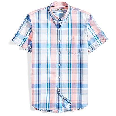 Brand - Goodthreads Men's Slim-Fit Short-Sleeve Large-Scale Plaid Shirt: Clothing