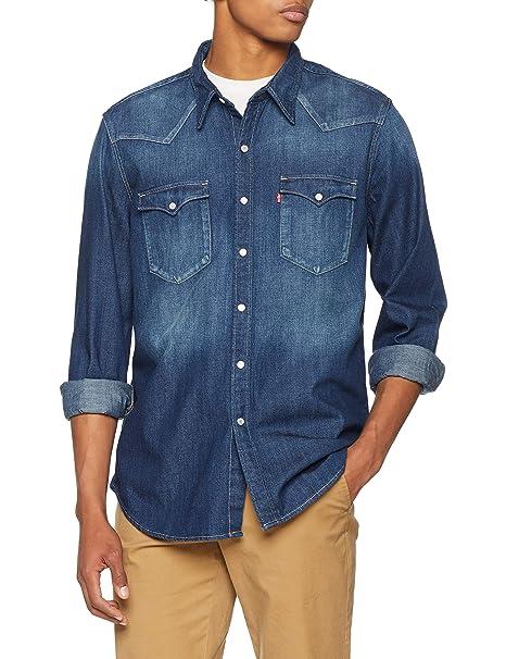 Levis Barstow Western, Camisa para Hombre, Azul (Carbon Dark 0233) Small