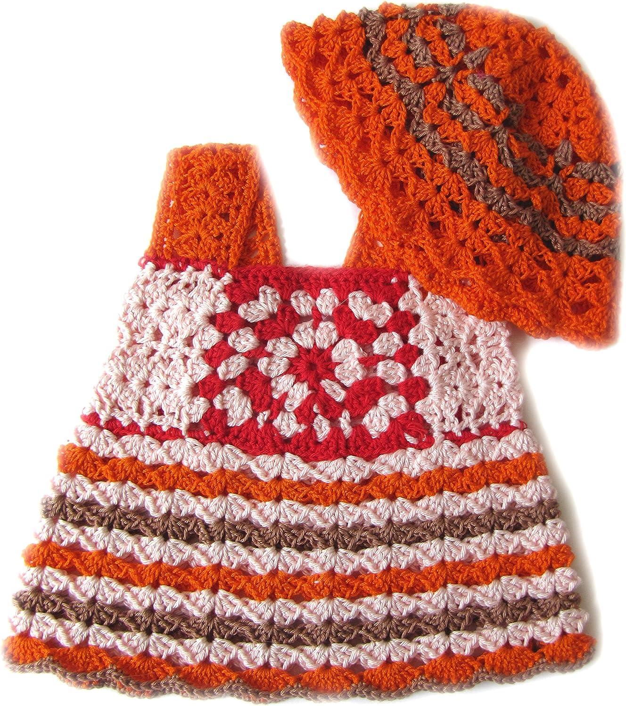 KSS Handmade Crocheted PinkWhite Crocheted Dress and Hat 6 Months DR-136