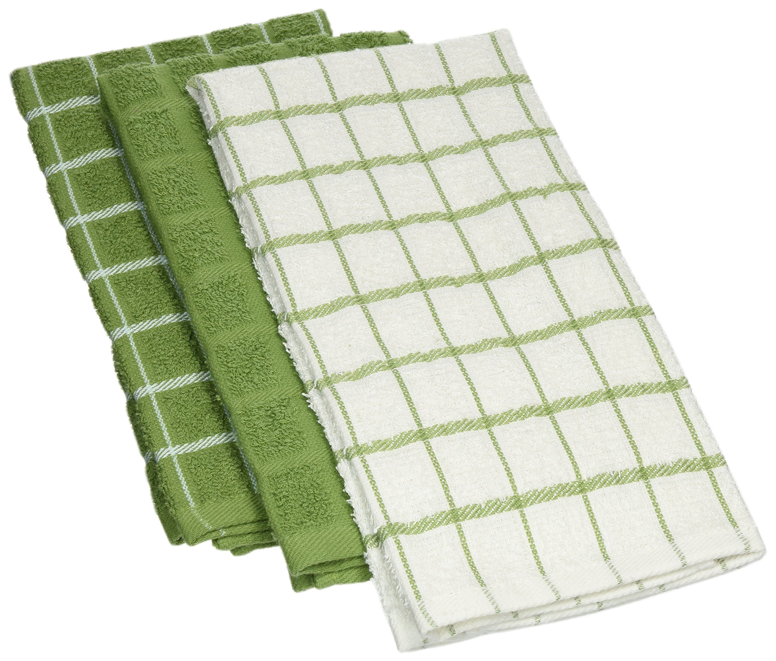 "Ritz 100% Cotton Terry Kitchen Dish Towels, Highly Absorbent, 25"" x 15"", 3-Pack, Cactus Green"