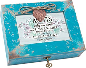Cottage Garden Aunts Like A Sister Friend Teal Distressed Locket Music Box Plays Edelweiss