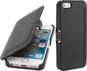 StilGut Book Type avec clip, housse en cuir pour Apple iPhone 5, 5s & iPhone SE, en noir