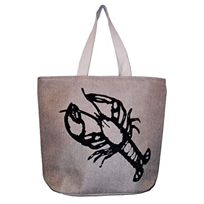 20 Inch Jute Beach Bag Tote - Lobster
