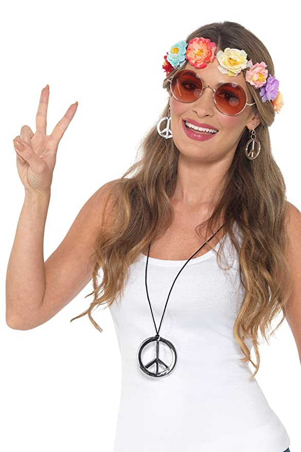 1960s Jewelry Styles and Trends to Wear Smiffy Hippie Festival Kit- $11.30 AT vintagedancer.com