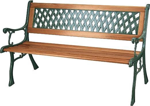 Banco de jardín con listones de madera y patas de hierro fundido, 3 plazas: Amazon.es: Jardín