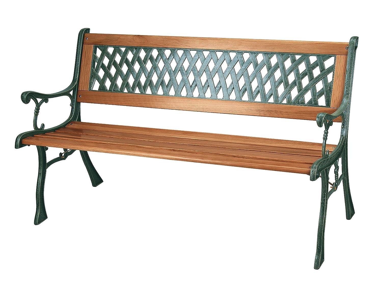 Banco de jardín con listones de madera y patas de hierro fundido, 3 plazas
