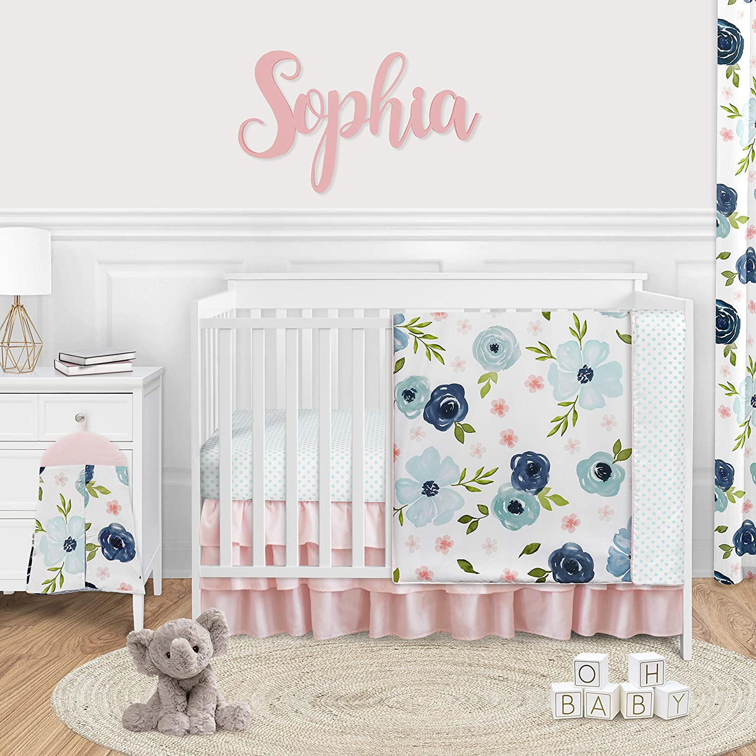 Sweet Jojo Designs Navy Blue and Pink Watercolor Floral Baby Girl Nursery Crib Bedding Set - 4 Pieces - Blush, Green and White Shabby Chic Rose Flower Polka Dot