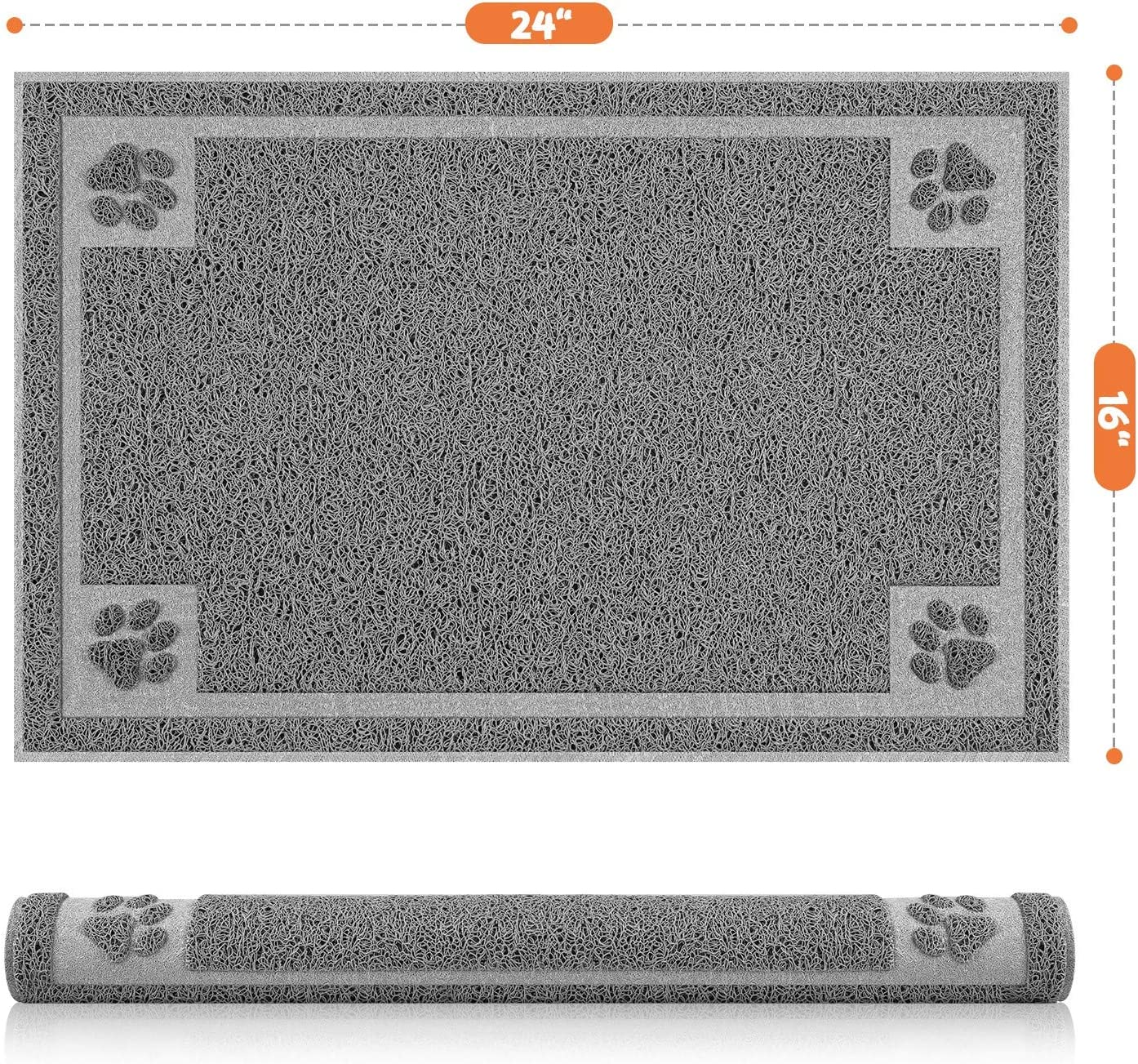 Tosenway Pet Feeding Mat for Food and Water Flexible and Waterproof Dog Food Mat for Small Dogs and Cats, 24