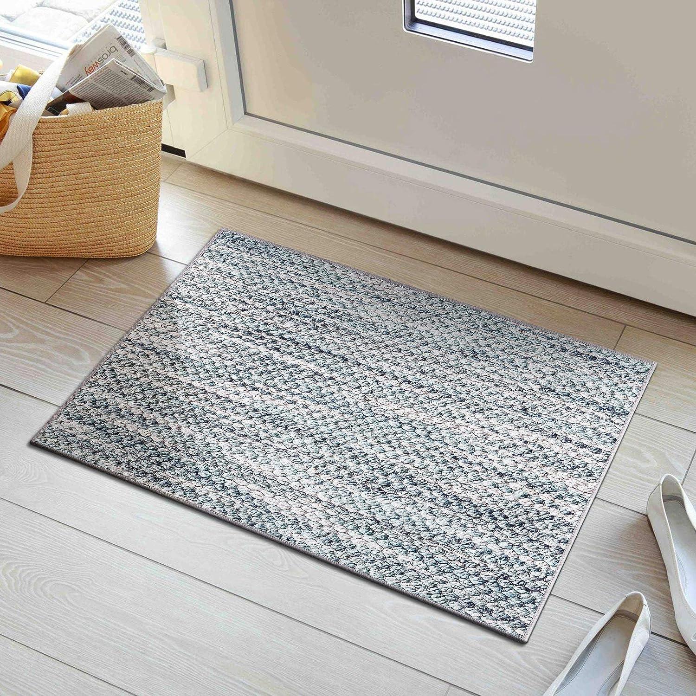 Decomall 2'x3' Door Mat Throw Rug for Entryway Laundry Room Natural-Fiber-Look Printed Flat Rug, Green Multi