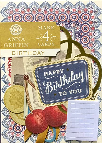 Anna Griffin Birthday Card Making Kit Masculine SB714 Makes 4 Embellished Cards