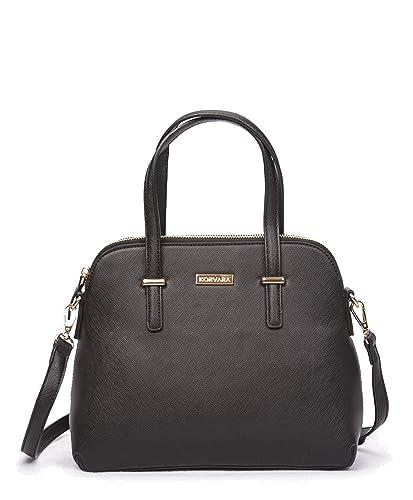 c7ea7f9a4a6df Amazon.com  Korvara Saffiano Satchel - Premium Vegan Saffiano Leather  Handbag with Zip Top and Crossbody Strap  Observ Life