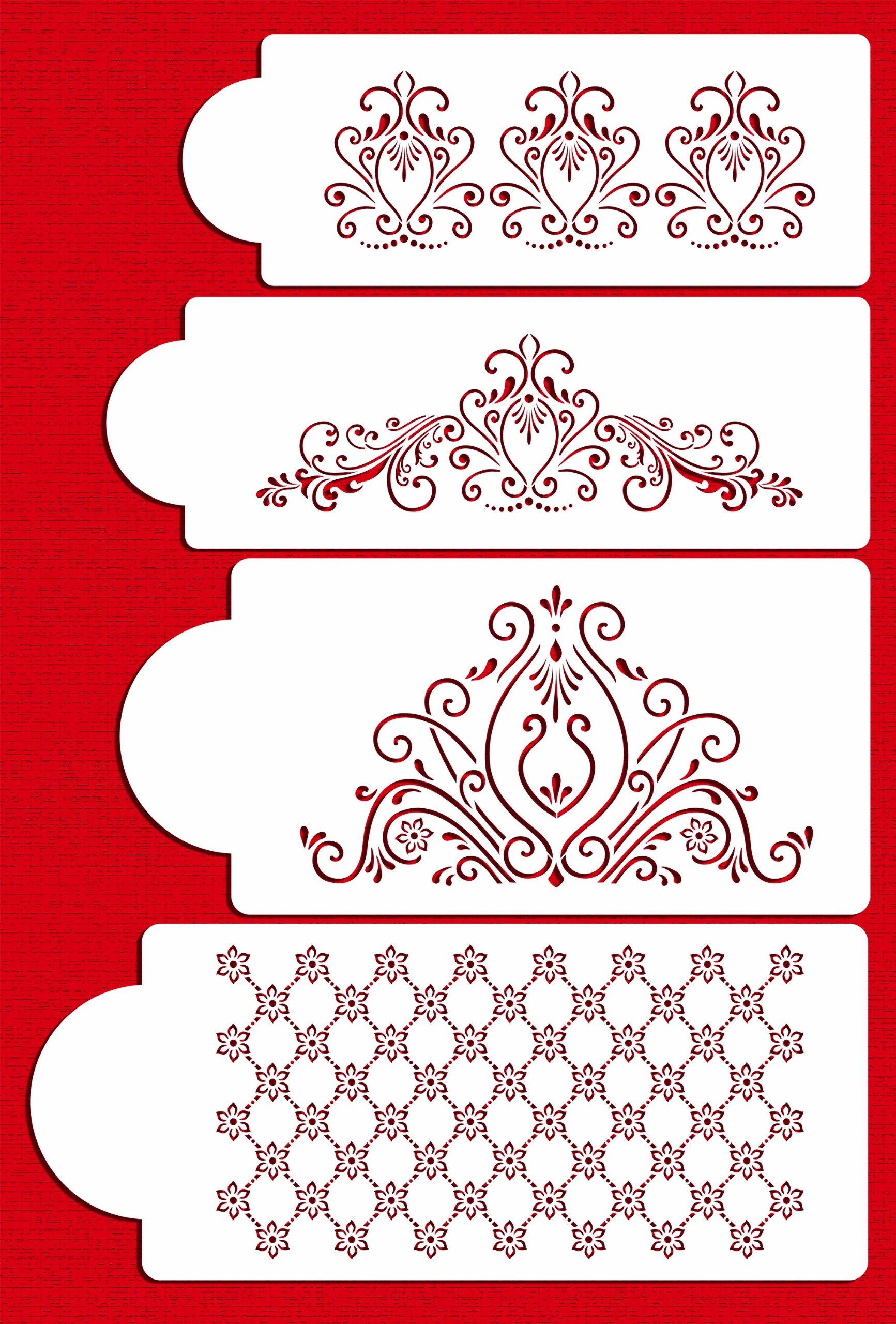 Designer Stencils C414 Princess Lace Set Cake Stencils, Beige/semi-transparent