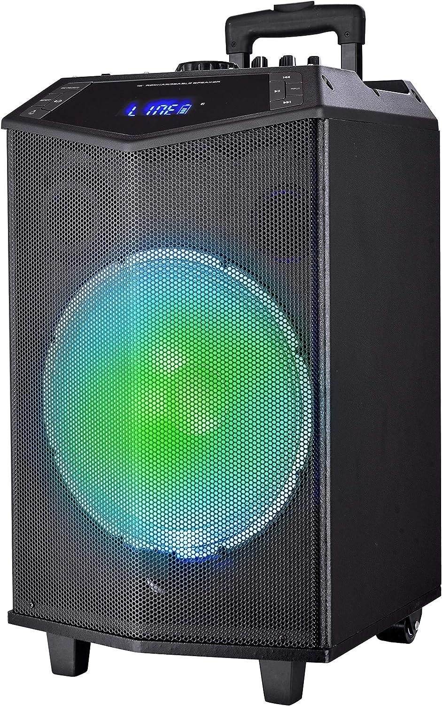 Sytech - SY-XTR32 Prism - Altavoz Trolley Profesional 100w, Color Negro | Altavoz Bluetooth v4.2 Inalámbrico Desde un Móvil, Tablet