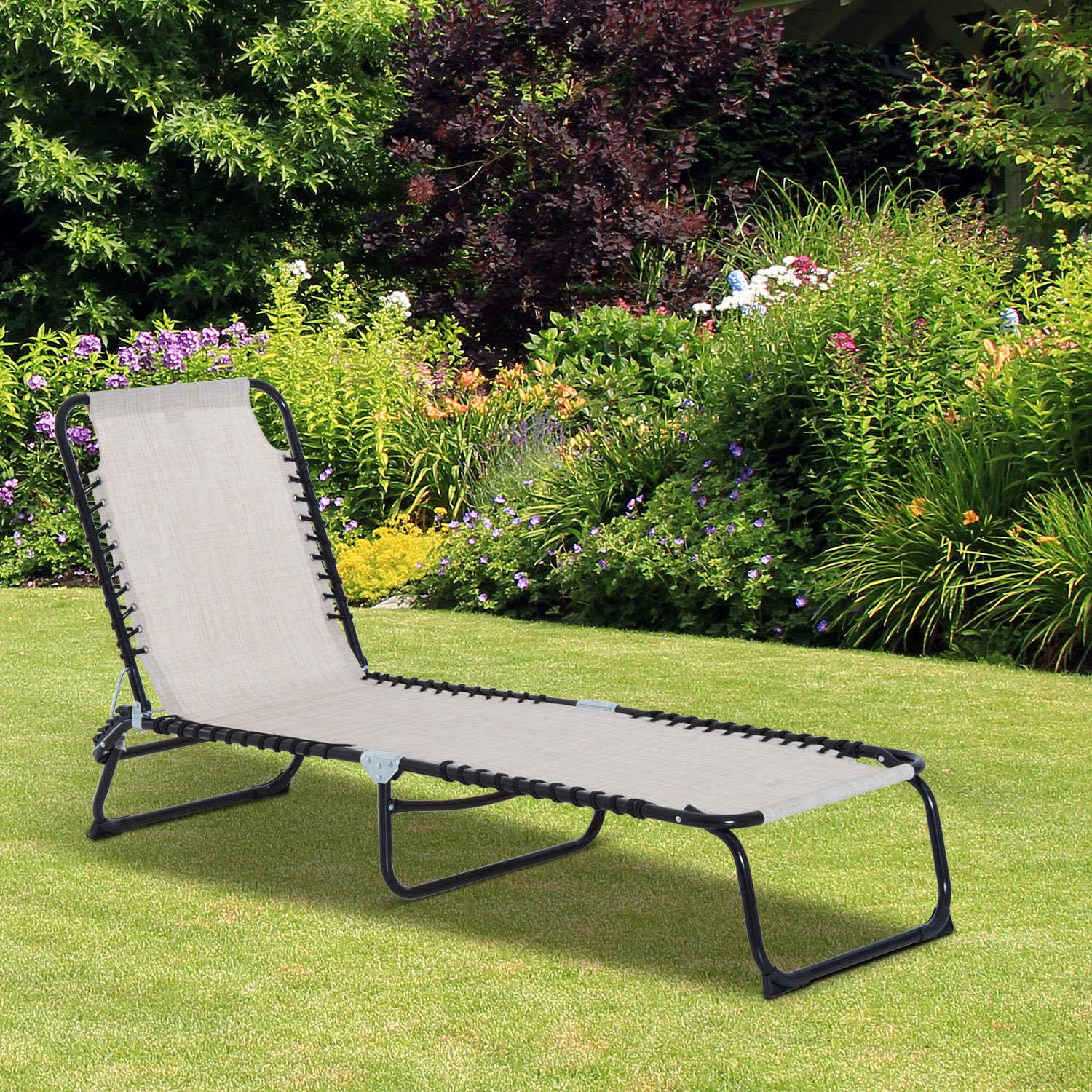Outsunny 3-Position Reclining Beach Chair Chaise Lounge Folding Chair - Cream White by Outsunny (Image #2)