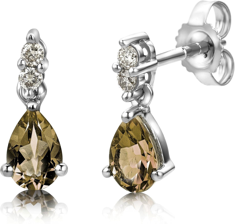 Miore USP007E6W - Pendientes de mujer de oro blanco (9k) con 6 diamantes