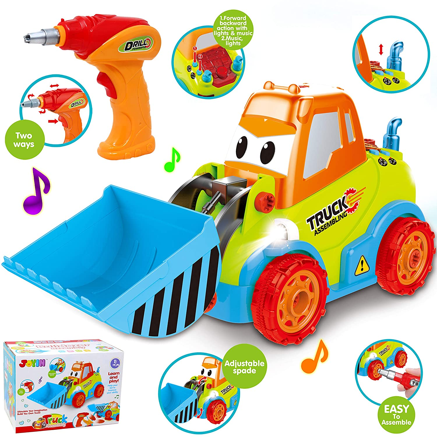 Take-Apart Truck Toy DIY Construction Bulldozer Assembly Light and Sound Car Truck with Drill and Tools, LED Light Up for 3 4 5 Years Old Boys Girls, Toddler Learning, STEM Educational Gift, Stuffers