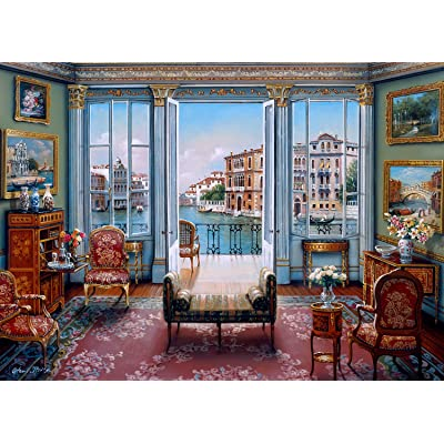 The Jigsaw Puzzle Factory Elegant Interiors Venetian View, John O'Brien Venice, Italy Puzzle Games for Adults, 1000Piece, Large Unique Cut, Made in The USA, for Ages 12+: Toys & Games