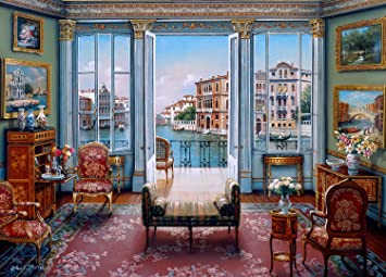 The Jigsaw Puzzle Factory Elegant Interiors – Venetian View (1000 Piece)  Toy, Multicolor