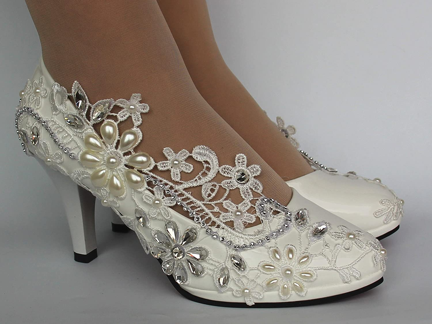 lace white light ivory crystal Wedding shoes Bridal heels pumps size 5-9.5