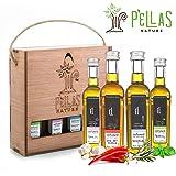 Pellas Nature | International Award Winner | Fresh Organic Infused Olive Oil Set | Finishing Oil | Basil | Garlic | Rosemary | Red Pepper | Wooden Gift Set | Single Origin Greek | 4 X 1.7oz Bottles