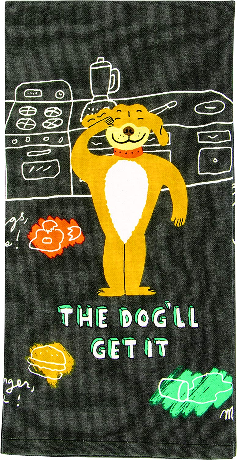 Blue Q Dish Towel, The Dog'll Get It. 100% Cotton, Funny and Functional, Screen-Printed in Rich Vibrant Colors, Measures 28