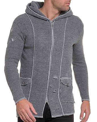 BLZ jeans - Cardigan homme gris clair grosse maille troué - couleur  Gris -  taille cf8a58fc91d4