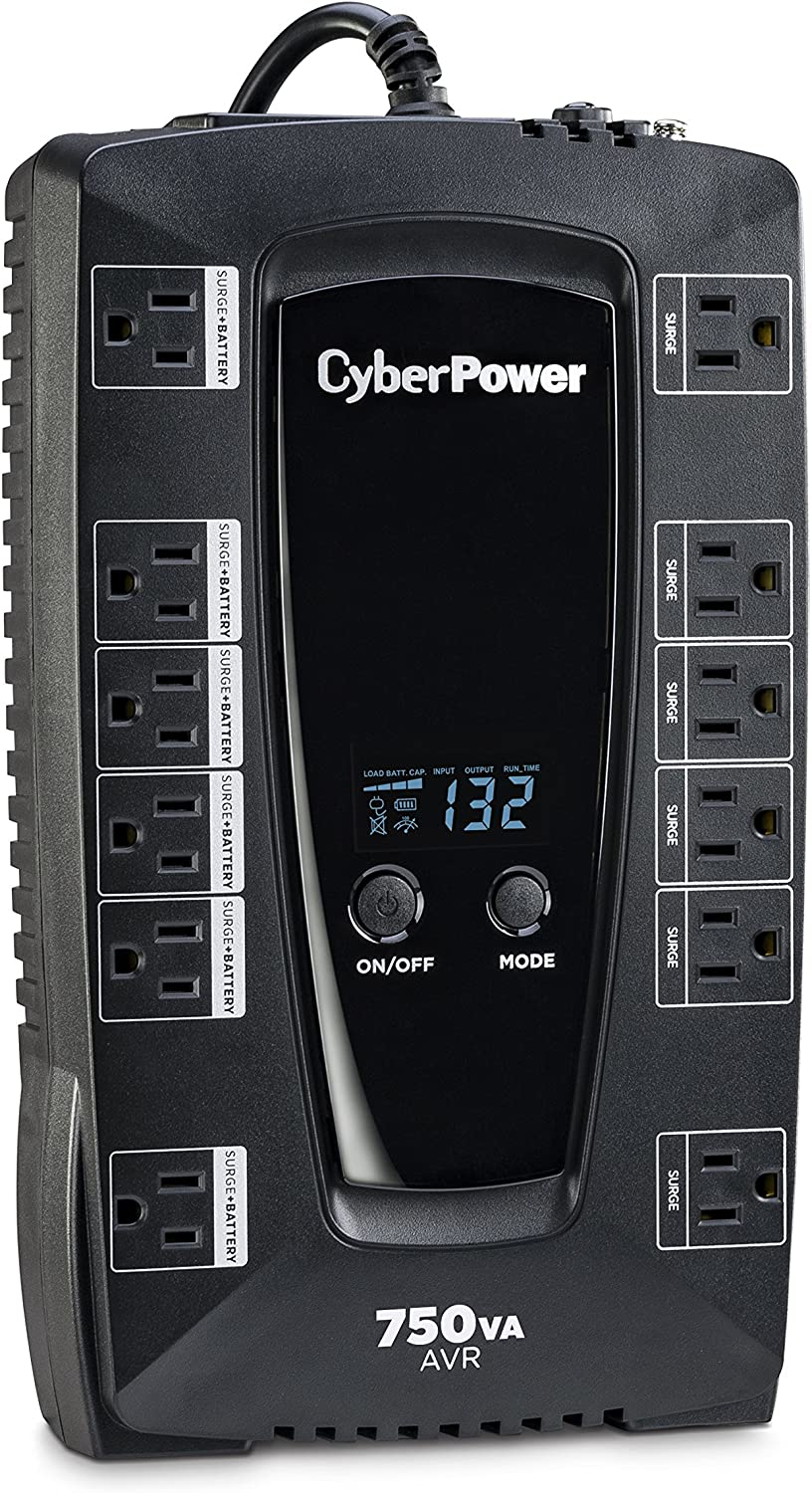 CyberPower AVRG750LCD Intelligent LCD UPS System, 750VA/450W, 12 Outlets, AVR, Compact