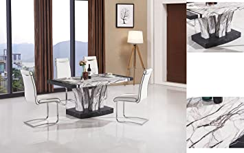 7star Aberdeen Black White Dining Table In Marble Effect Tree