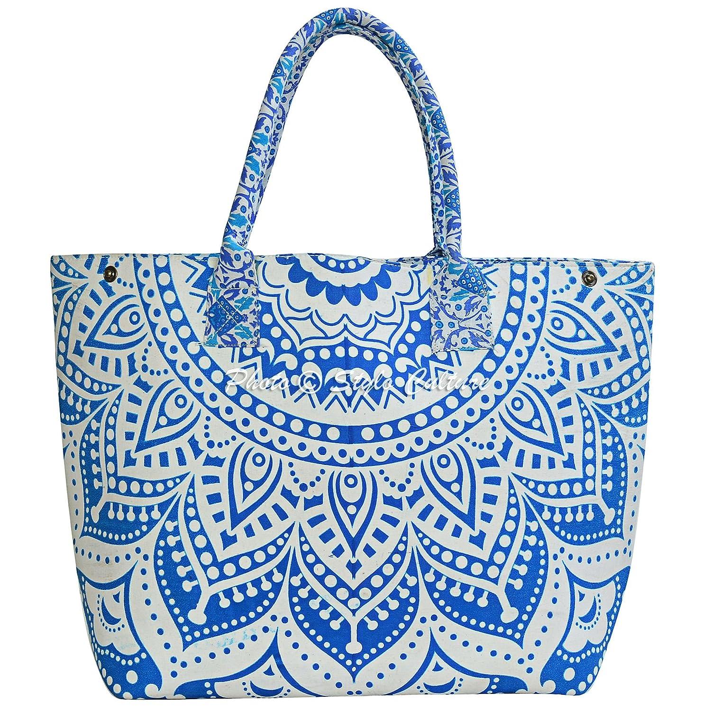 Amazon.com  Stylo Culture Indian Mandala Hippie Tote With Shoulder Strap Blue  White Tote Bag Printed Womens Cotton Mandala Ladies Shoulder Hand Bag Purse   ... 487156c964