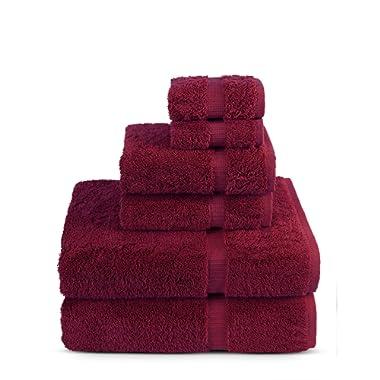 6 Piece Turkish Luxury 100% Genuine Turkish Cotton Towel Set - Eco Friendly, 2 Bath Towels, 2 Hand Towels, 2 Wash Clothes by Turkuoise Turkish Towel (Cranberrie)